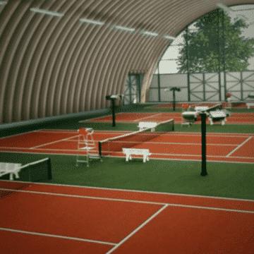 Теннисный корт в ангаре