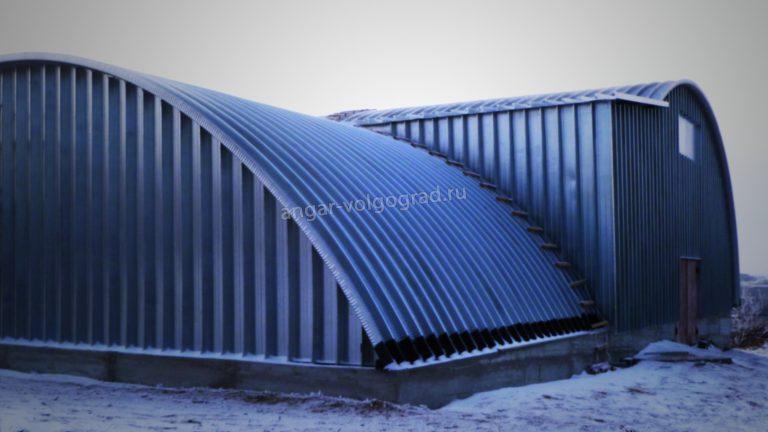 Бескаркасный арочный ангар в Волгоградской области