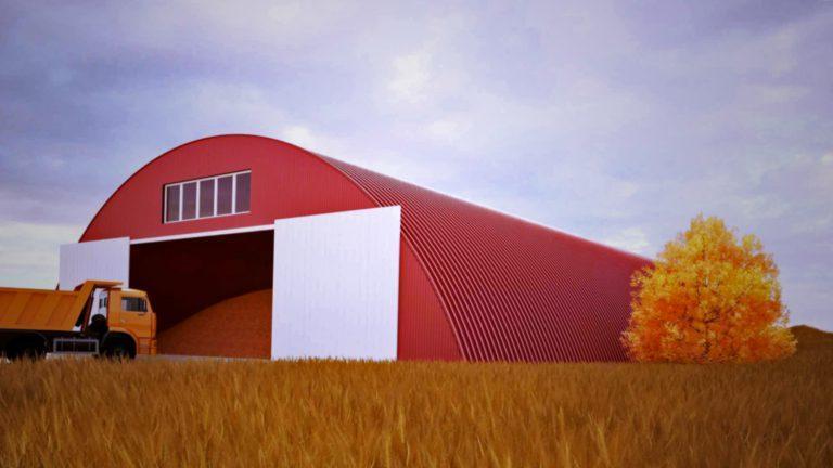Осенний бескаркасный ангар принимает сельхозпродукцию для хранения зимой